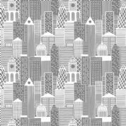 Lewis & Irene - City Nights - 6023 - City Scape in Grey & Metallic Silver  - A291.1 - Cotton Fabric